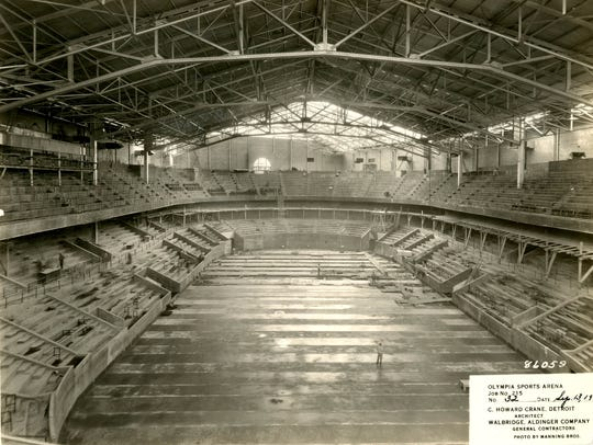 Construction of Olympia Sports Arena in Detroit in