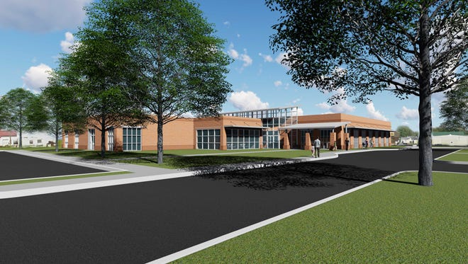 A conceptual rendering of the exterior of the new Eastern Shore Public Library to be built in Parksley, Virginia at the site of the former Fresh Pride store.