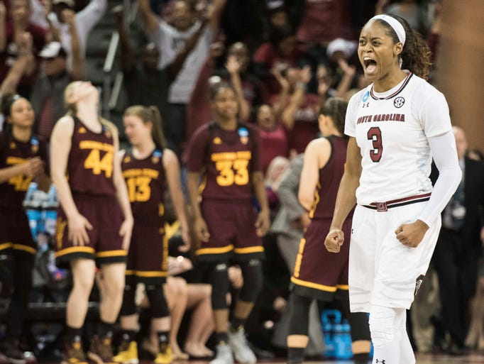 South Carolina guard Kaela Davis (3) celebrates at