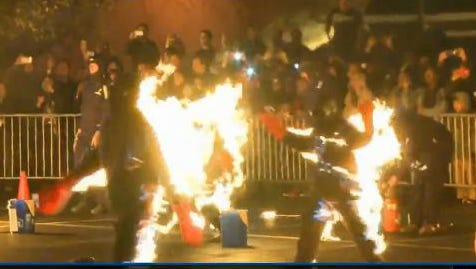 A group of 21 people were set on fire in Cleveland on Saturday, Oct. 19, 2013, in an attempt to break the Guinness World Record of the most people set on fire simultaneously. They beat the previous record of 17 that was set in 2009.