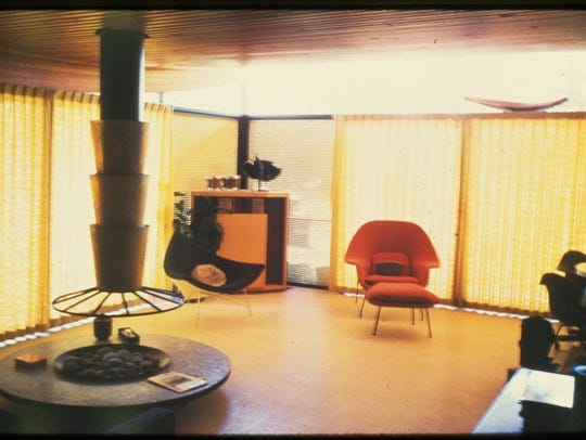 This vintage photo shows how the living room in the