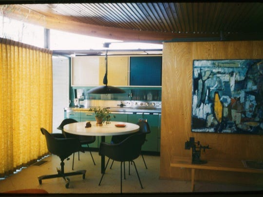 This vintage photo shows how the kitchen in the Miles