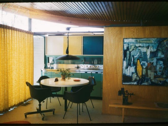 This vintage photo shows how the kitchen in the Miles Bates house in Palm Desert originally looked.  The metal cabinets have since been replaced with wooden cabinets. The photo is from the Walter S. White papers, Architecture and Design Collection, at the Art, Design & Architecture Museum at UC Santa Barbara.