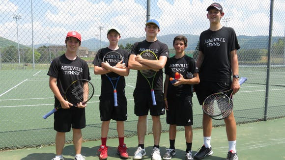 These players represented Asheville High in Wednesday's MAC 3-A tennis tournament at North Buncombe. From left to right, Thomas Shults, Caleb Owen, Nathan Koerschner, Henry Kelso and Meade Olson.