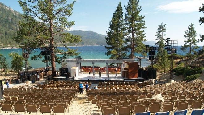 Sierra Nevada Ballet rehearses on stage for a previous performance at Sand Harbor at Lake Tahoe.