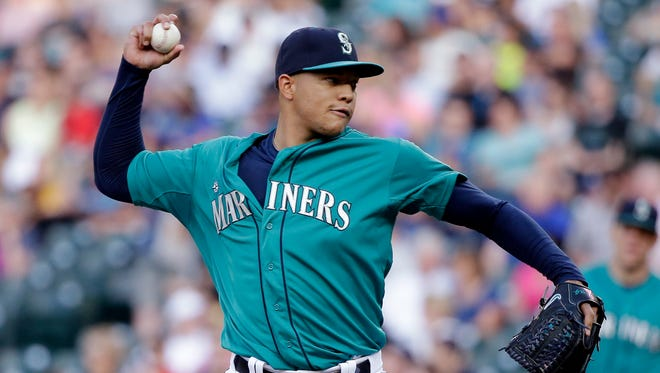 Seattle Mariners starting pitcher Taijuan Walker throws against the Cleveland Indians during the first inning of a baseball game Friday, May 29, 2015, in Seattle.