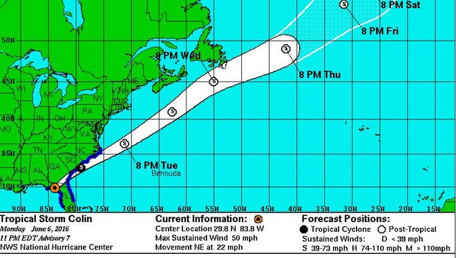 Colin's projected path as of Monday 11 p.m.