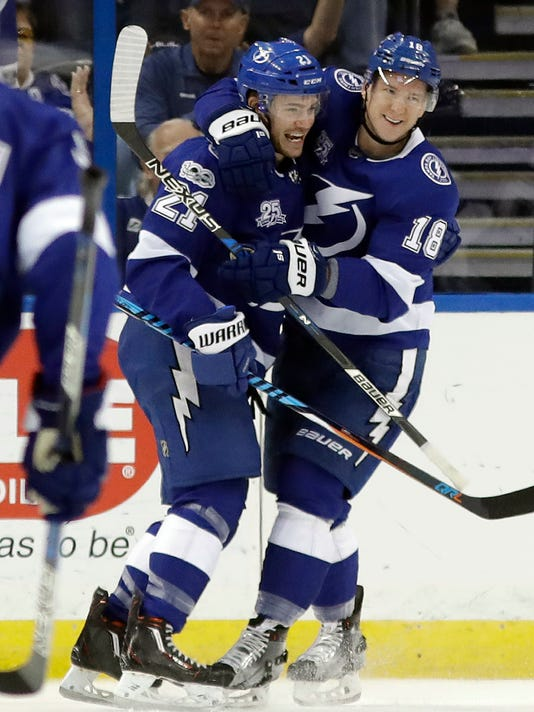 Tampa Bay Lightning center Brayden Point (21) celebrates his goal against the New York Islanders with left wing Ondrej Palat (18) during the first period of an NHL hockey game Tuesday, Dec. 5, 2017, in Tampa, Fla. (AP Photo/Chris O'Meara)