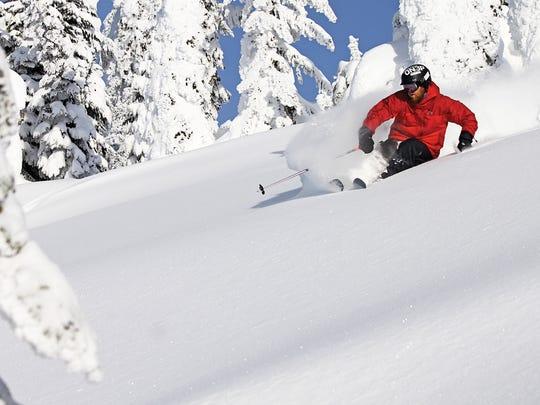 A skier enjoys fresh powder at Whitefish Mountain Resort.