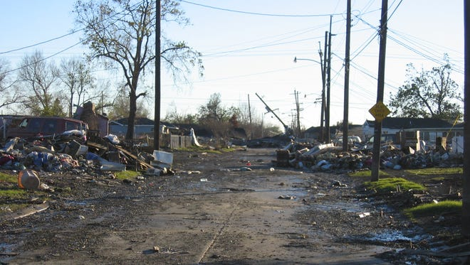 This December 2005 photo shows the devastation caused in New Orleans' Lower Ninth Ward by the flood waters of Hurricane Katrina.