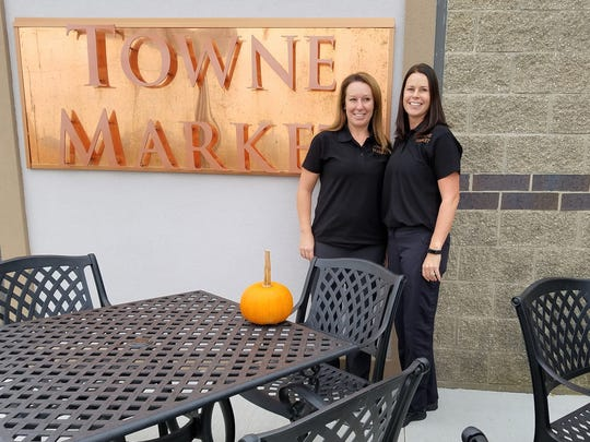 """Brooke Seibert, left, and Jennifer Inzerello owned Culinary Solutions catering before joining their brother Brian Wedding to open the first Towne Market """"grocerant"""" in Newburgh. They are hopeful it is the first of a series of locations across the midwest."""