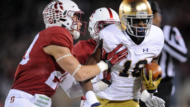 Notre Dame wide receiver Torii Hunter Jr. (16) will be key to the Irish's offense.