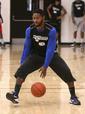 Razorsharks Jerice Crouch, during practice, gets ready for the start of the season.