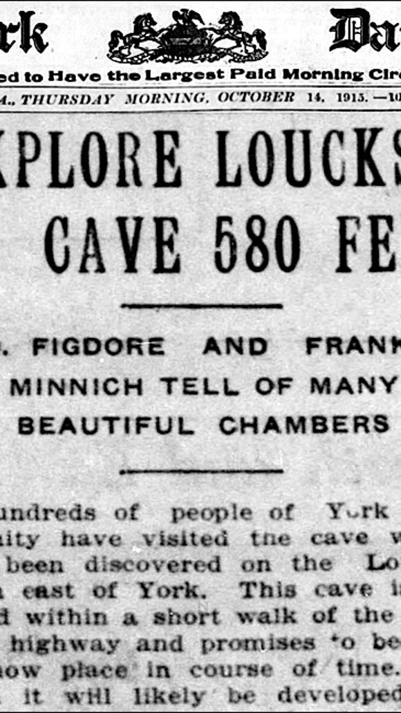 A newspaper account of the exploration of a large cave near York.