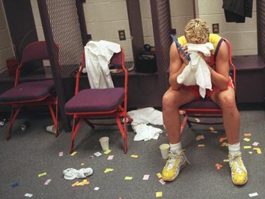 Michele Timms suffers after the Phoenix Mercury's game 3 in the 1998 WNBA Finals to the Houston Comets.