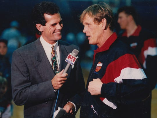 In this 1993 photo, WISH-8 sports anchor Mark Patrick