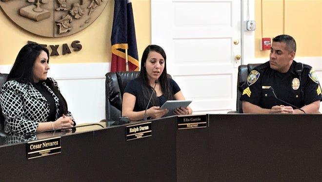 Socorro Mayor Elia Garcia, center, talks at a news conference in March with City Manager Adriana Rodarte and interim police Chief Jasiel Muñoz.