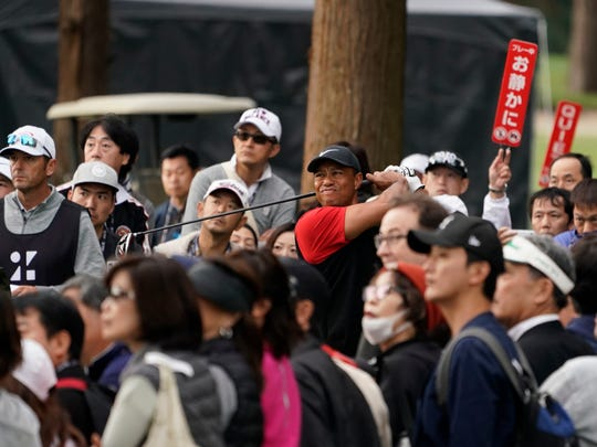 Tiger Woods of the United States watches his tee shot on the 14th hole during the final round of the Zozo Championship PGA Tour at the Accordia Golf Narashino country club in Inzai, east of Tokyo, Japan, Monday, Oct. 28, 2019. (AP Photo/Lee Jin-man)