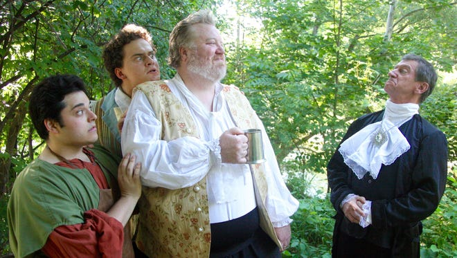 "Michael Doliner (Fabian), Andrew Korzenik (Sir Andrew Aguecheek), Daniel Kiely (Sir Toby Belch) and Jack Sherman (Malvolio) star in the Ithaca Shakespeare Company's production of ""Twelfth Night."""