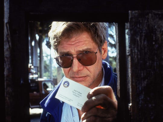 """By 1994's """"Clear and Present Danger,"""" Harrison Ford's Jack Ryan has been appointed head of CIA intelligence operations and is battling bad guys at home and abroad."""