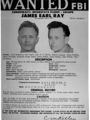 A wanted poster for Brushy Mountain State Penitentiary escapee James Earl Ray, who slipped out with six other convicts on June 10, 1977. Ray, serving 99 years for the assassination of Dr. Martin Luther King Jr., was recaptured three days later.