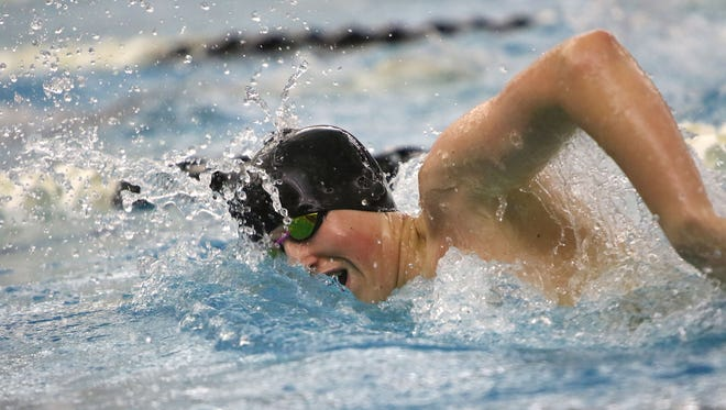 New Berlin's Ian Gatzke competes in the in the 200 freestyle at a WIAA Division 1 sectional held Feb. 11 at Waukesha South High School. Gatzke earned his second consecutive trip to state in the 500-yard freestyle.