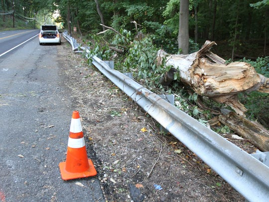 The scene of a fatal accident along Route 34 in Colt Neck is shown Tuesday, October 6, 2015.   Stacey Weathers was killed here when a 100-foot tall Tulip Poplar fell through the roof of her car on October 3.