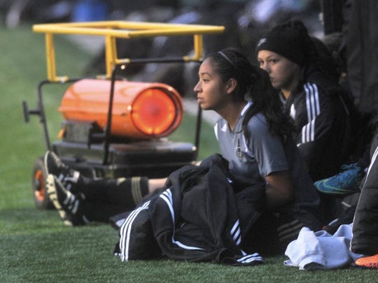 Joey D. Richards/Reporter-News   Abilene High players sit near a heater while they watch the game from the bench. The Lady Eagles played Wylie in the championship game of the West Texas Invitational on Saturday at Shotwell Stadium. Temperatures were in the low 30s with a steady 15-mile wind on a gray day. Wylie won the game 3-1.