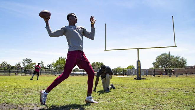 Part of FSU quarterback James Blackman's routine while riding out the coronavirus is throwing to other college receivers in Belle Glade.