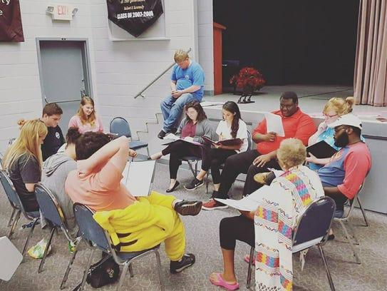 Actors run through the script for NFCC Community Theatre's