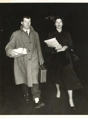 """Jim Mahoney takes Ava Gardner to the airport to grab a plane to Africa to shoot the film, """"Mogambo,"""" after a teary good-bye between Gardner and Frank Sinatra on Mahoney's first meeting with Sinatra."""
