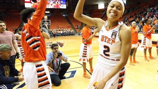 Cameasha Turner, 2, is introduced at the start of the UTEP game against UAB Sunday night in the Don Haskins Center.