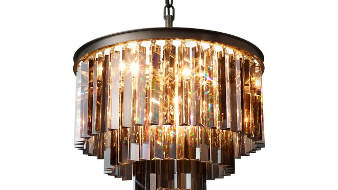 Restoration Hardware's fringe of smoked glass facets create a three-ringed lighting that evokes the 1920s in this Odeon fixture.