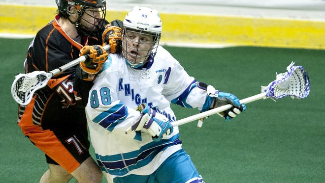 "Cody Jamieson, right, one of the Knighthawks' stars, is expected to be ready for the club's Jan. 9 home opener. The team will also host a ""Prospects Day"" event that day at Blue Cross Arena at the War Memorial."