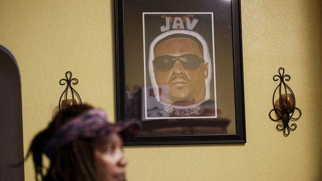 A portrait of Maritza Ambler's son hangs in her Killeen home. Local artist Quentin Moorman created the portrait after Javier Ambler II died in police custody on March 28, 2019.