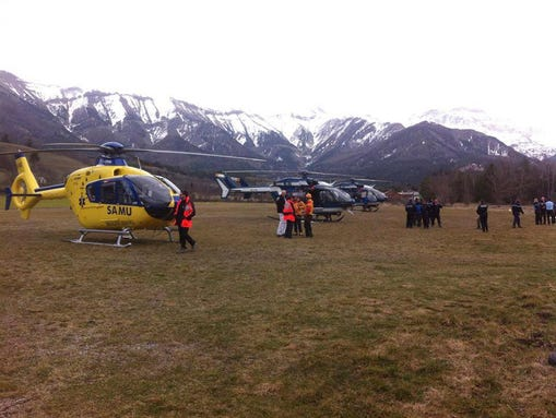 Rescue helicopters park in  Seyne les Alpes, French