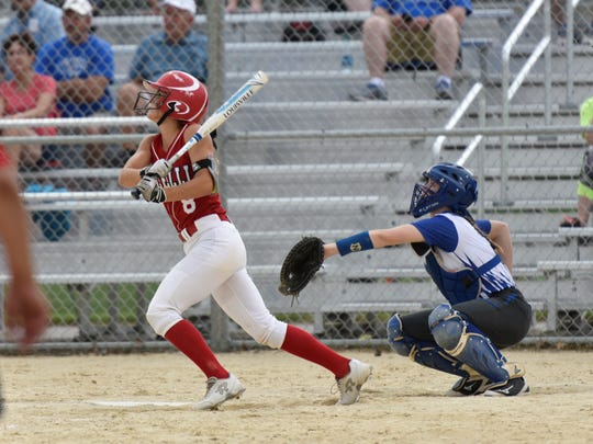Pacelli's Paige Hintz rips a walk-off two-run triple in the bottom of the fifth inning to give the Cardinals a 10-0 win over Athens in a Division 4 regional final Friday.