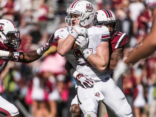 Former Penn State tight end and York County resident Adam Breneman made a stunning comeback last fall from a possible career-ending injury. He caught nearly as many passes (nine) in this game vs. South Carolina as he had in three years at Penn State (15).