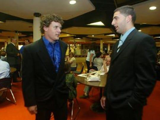 Joe LaSala (left) at a Snapple Bowl press conference