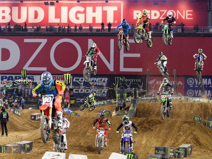 Racers during the second 250SX prelims at the Monster