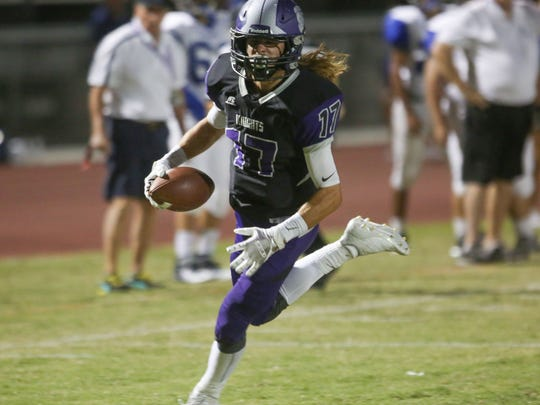 Shadow Hills receiver J.D. Lang runs in for a touchdown against Cathedral City, September 21, 2017.