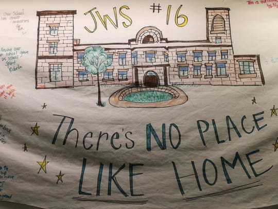 Students from School 16 placed a banner of their old