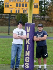 North Kitsap's Ryan Brooks, left, and Dax Solis  are the Kitsap Sun's co-players of the year for high school football .