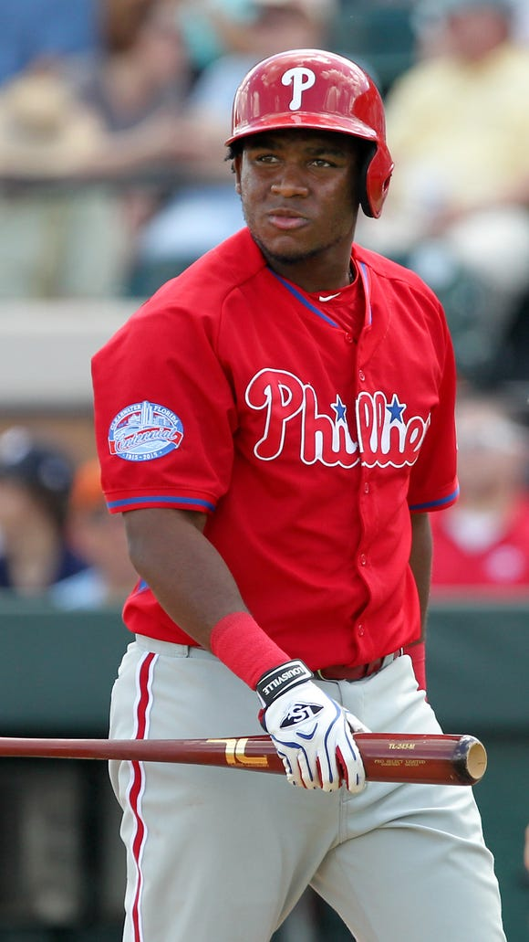 Phillies infielder Maikel Franco returns to the bench after striking out during a spring training baseball game March 14 at Joker Marchant Stadium. Credit: Reinhold Matay-USA TODAY Sports