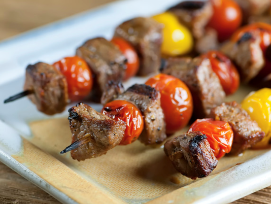 Steak and tomato skewers