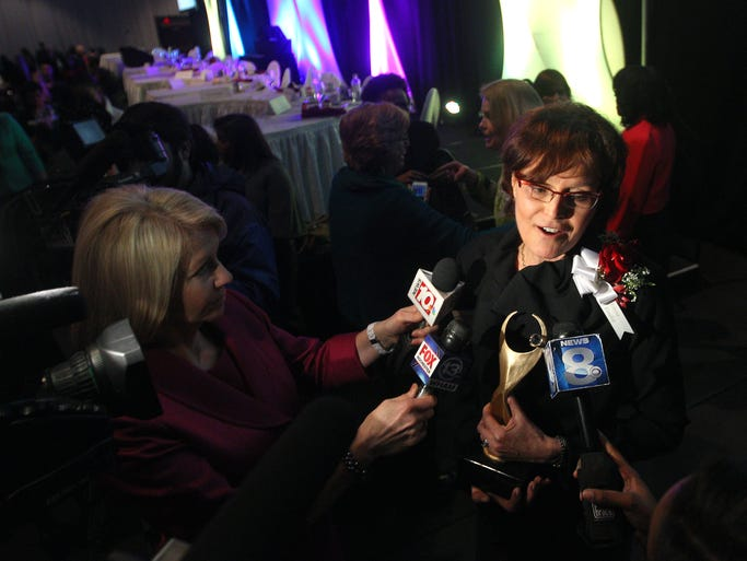 Lynne Maquat speaks with the media after winning the 2014 Athena Award. She is the J. Lowell Orbison Endowed Chair and professor of biochemistry and biophysics in the University of Rochester School of Medicine and Dentistry. She is also founding director of the UR Center for RNA Biology: From Genome to Therapeutics, and founding chair of UR Graduate Women in Science.