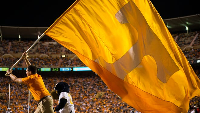 The UT flag is run across the endzone after a successful field goal by Aaron Medley during a game between Tennessee and Southern Miss at Neyland Stadium in Knoxville, Tennessee, on Saturday, Nov. 4, 2017.