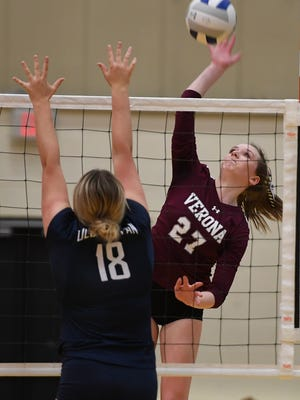 Northern Valley Regional at Old Tappan vs Verona in the girls volleyball State Tournament of Champions at William Paterson University on Saturday, November 18, 2017. V #27 Brooke Cooney hits the ball over the net.