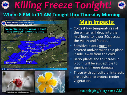 Area freeze warning