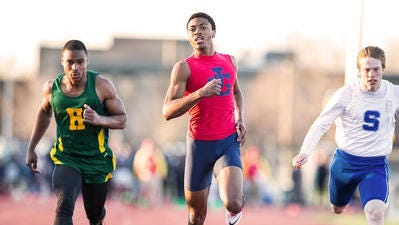 John Glenn's Jaron Flournoy, pictured during last year's Observerland Relays, brings big-time wheels to the Rockets' track-and-field team.